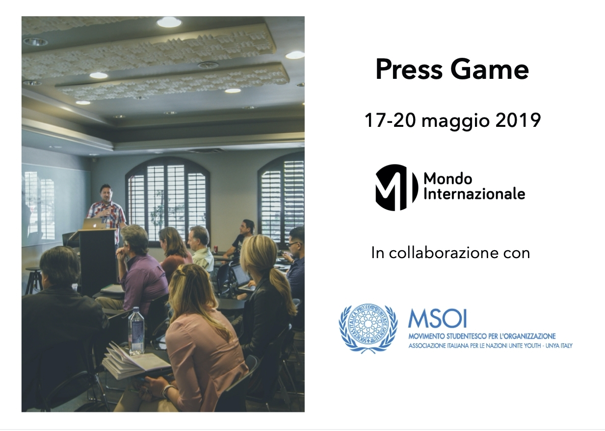 Evento Press Game – 17 e 20 maggio 2019