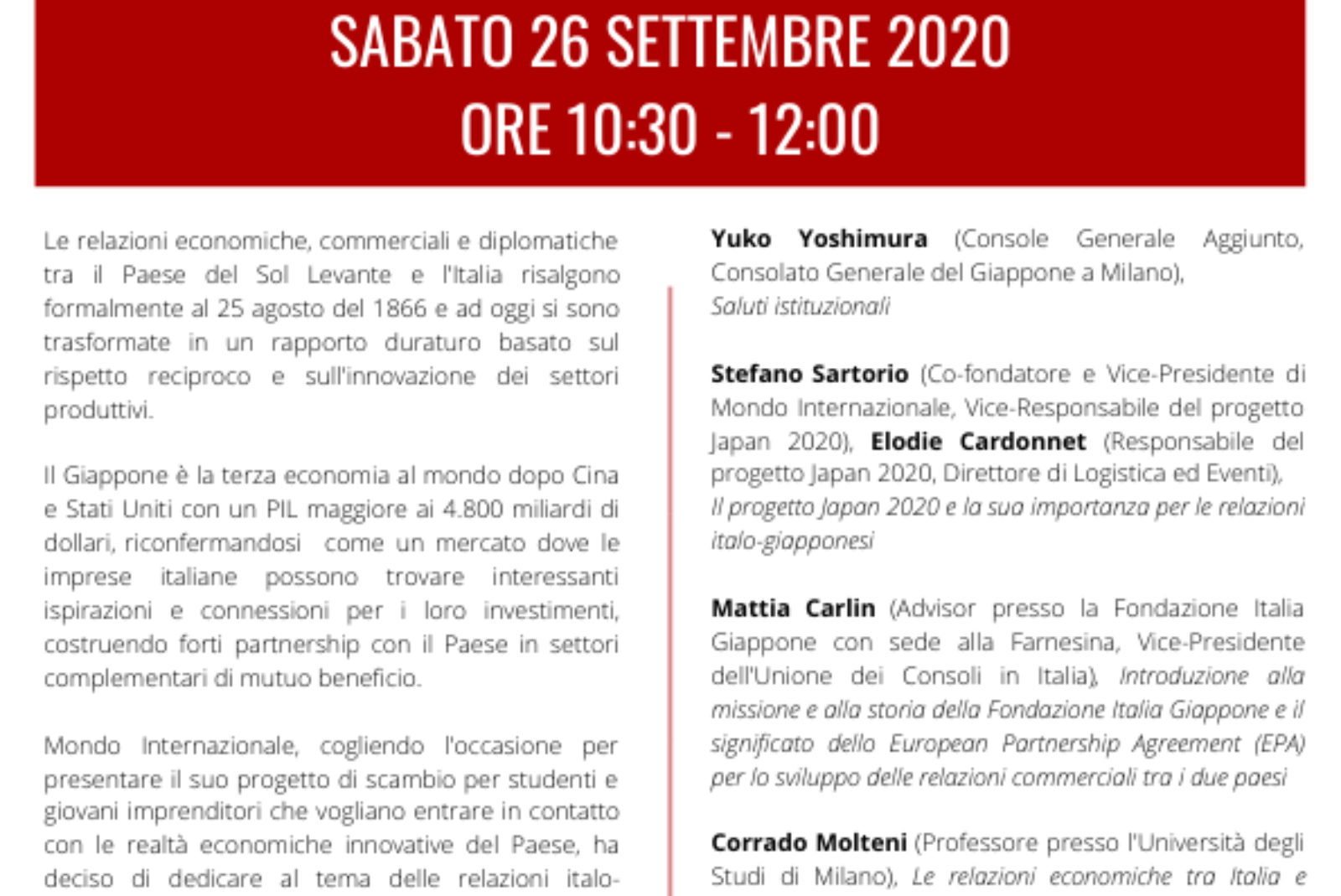Economic Synergies between Italy and Japan– September 26, 2020